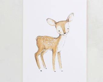 Forest nursery art, woodland decor, Fawn, giclée print, Kit Chase artwork, 5x7, 8x10, 11x14