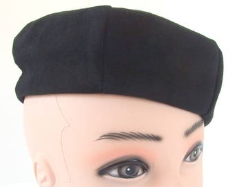 Vintage Black Suede Beret, Union Made Hat with Button Detail