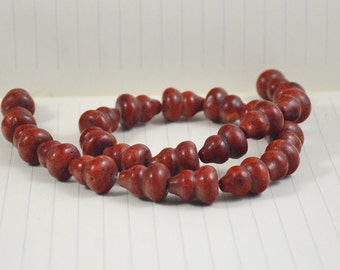 Gourd Red Sponge Coral Beads ---14MM x 18MM  --- 23 beads --- 16inch full strand