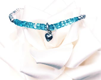 Blue Apatite 925 Silver beaded bracelet with Silver Heart Charm