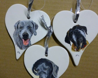 Weimaraner Pet Portrait Memorial Ornament Hand Painted and Made to Order by Pigatopia