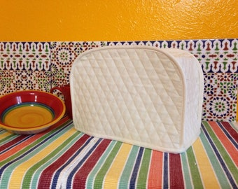 Cream 2 Slice Toaster Cover Kitchen Small Appliance Cover Ready to Ship