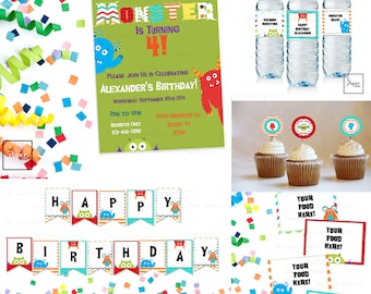 Our Little Monster BIRTHDAY Set-DIY Printable-Print Your Own-Instant Download-Editable File-Monsters-Colorful-Chevron-Banner-Labels-Toppers