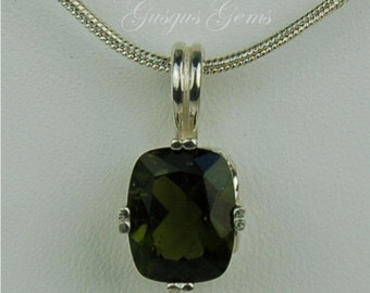 Moldavite Faceted Sterling Silver Necklace 10x8mm Cushion Cut 2.35ct Natural Untreated
