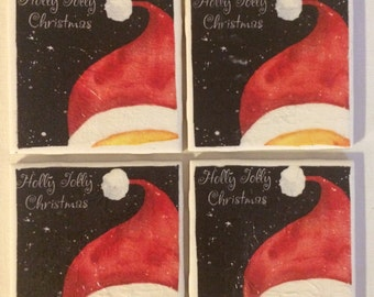 Christmas Coasters | Christmas Decor | Set of 4 Decorative Santa's Hat Tile Coasters |  Rustic Winter Coasters | Ceramic Tile Coasters