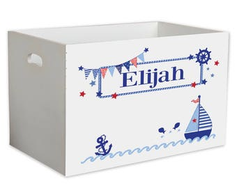 Personalized Sailboat Childrens Nursery White Open Toy Box Beach Sea Navy Blue Redship Maritime Marine YBIN-201