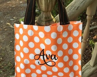 Orange Dot Halloween Bag-Candy Bag-Monogram included