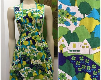 Vintage GREEN house print full apron