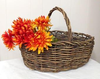 SALE Large Woven Wicker Basket with Handle, Easter Basket, Picnic Basket, Boho Decor, Natural Home, Cottage Chic