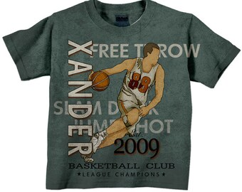 Boys Basketball Shirt, Personalized Name Sport TShirt, Top
