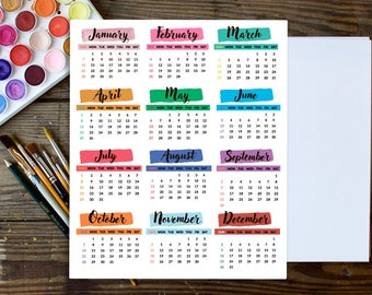 Mini Calendar Stickers, Calendar Planner Stickers ( January 2018- December 2018), Yearly Stickers, Yearly Planner