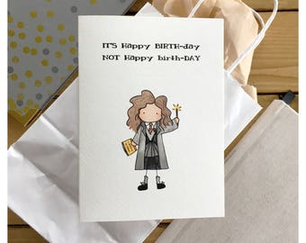 Witch Birthday Card // magical birthday, wizard card, witch card, happy birthday, greeting card, funny card, punny, birthday card