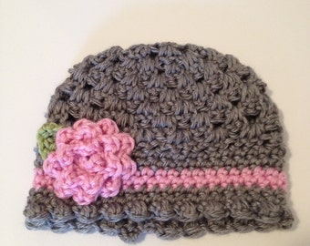 Crochet Baby Hat, Baby Beanie, 0 to 3 Months