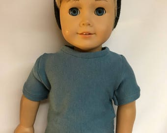 Blue Crewneck tshirt tee shirt to fit 18 inch dolls similar to American Girl Doll 18 inch boy doll clothes