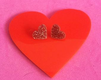 HEART DISCO STUD; Glitter Perspex Earrings