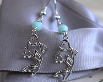 Koi Fish earrings Sterling Silver Openwork with our without crystal