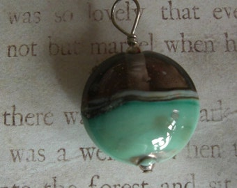 Hand blown glass bead pendant with sterling silver