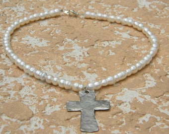Freshwater Pearl Necklace with Silver Cross Charm
