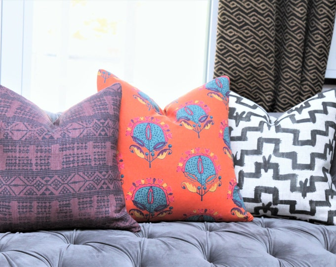 Peter Dunham Pillow Cover - Addis in Midnight Pasha - Purple and Black Geometric Linen Stripe - Designer Purple Pillow Cover