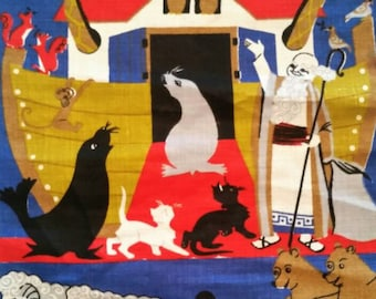 Vintage Linen Noahs Ark Biblical Oddessey Silkscreen ed Wall Hanging