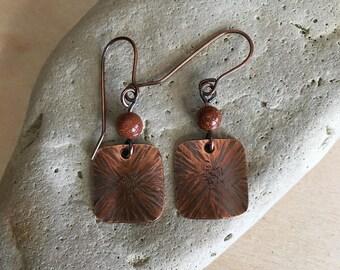 Women's earrings Copper - Goldstone - beaded earrings - Handmade - metal - Drop - dangle disc - earrings