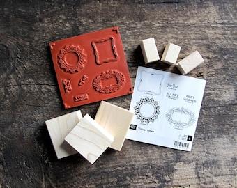 Stampin' Up! Wood-Mount Rubber Stamp Set - Vintage Labels
