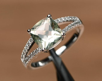 natural green amethyst ring cushion cut ring gemstone engagement ring sterling silver ring