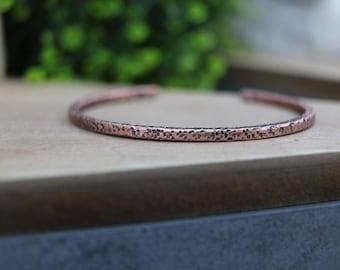 SHILOH Bracelet - Minimal Hammered Copper Cuff Bracelet