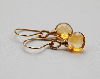 Citrine Teardrop Earrings in Gold Filled, November Birthstone Earrings, Simple Wire Wrapped Solitaires