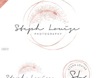 feather logo, photography logo watermark, wedding logo, boho logo, wedding planner, birds logo, writer logo, gold logo, rose gold logo, 094