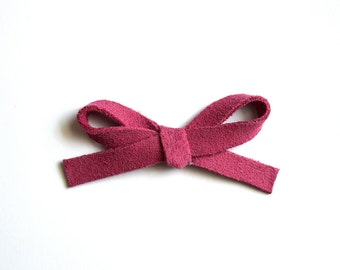 Cerise Suede Pink LARGE Leather Bow Clip Photo Prop for Newborn Baby Little Girl Child Adult Summer Headwrap Pretty Bow