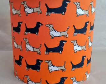 "Handmade drum lampshade made using Poppy Treffry's ""Darling Dachshund"" fabric in burnt orange - Dachshund lampshade - dog lampshade"