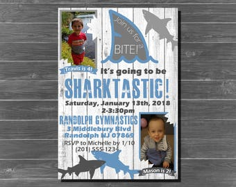 Sharktastic Birthday Party Invitation