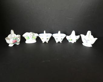 Miniature China Baskets with Flowers - Set of 6