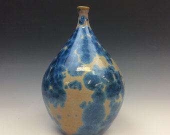 Royal Blue and Orange Crystalline Glazed Vase