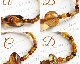 Mothers Day Gift Artisan Glass Beaded Bracelet Thin Bracelet Bohemian Bracelet. Color Mix of Honey Brown Gold Amber Orange. Tribal Bracelet