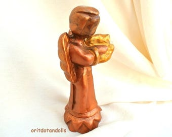 Angel olive wood statue hand carved,hand painted in Bethlehem, Holy Land