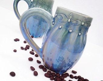 One Blue Wheel Thrown / Hand Carved Porcelain Mug