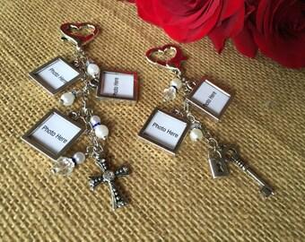 Bouquet photo charms/ wedding bouquet photo charms/ photo charms/ boutonnière photo charms/ lock and key bouquet charms/ cross bouquet charm