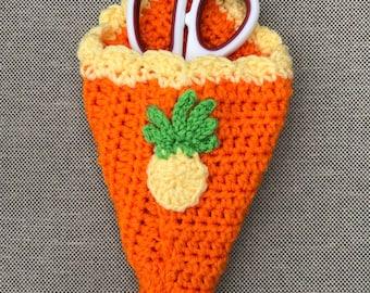 Scissor Holder, pineapple hanging scissor holder, refrigerator scissor holder, magnet, crochet, kitchen decor
