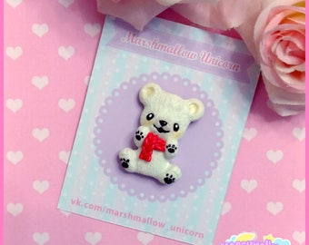 Polar bear cute and kawaii brooch