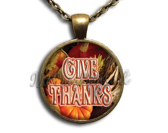 Give Thanks Thanksgiving Painting Dome Pendant or with Chain Link Necklace HD133