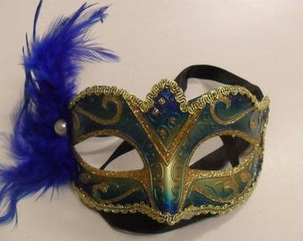 Style Columbine VENETIAN bead evening feathered mask Carnival party