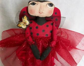 Primitive folk art  15 in. lady bug doll Pattern, by Dumplinragamuffin, #177