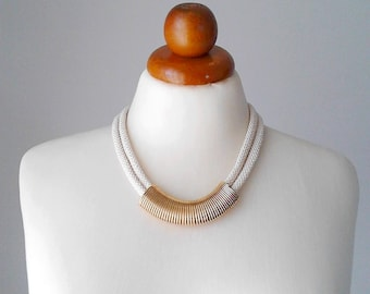 Tube necklace wedding necklace wedding jewelry geometric necklace rope necklace rope jewelry gold necklace ivory necklace brass necklace