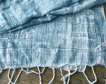 Hand printed 'On my Street' organic cotton scarf by Lou Tonkin