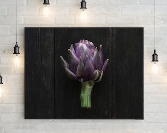 artichoke v. one // food photography print // kitchen decor // dining room // canvas art // canvas print // rustic farmhouse wall art