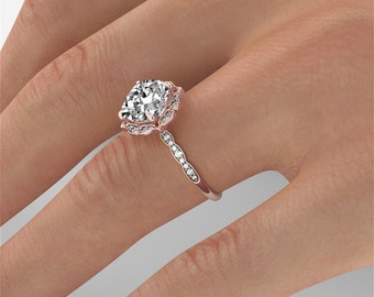 Rose Gold Cushion Moissanite Engagement Ring, Rose Gold Moissanite Ring, Cushion Halo Engagement Ring, Forever One C&C