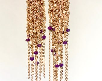 Gold plated crocheted fringe earrings with amethyst