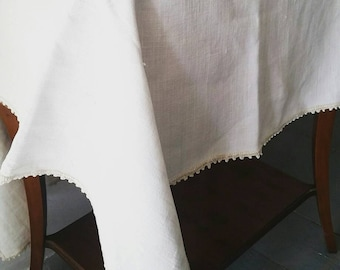 """Large White Linen Tablecloth with cotton crochet border. Handmade Linen tablecloth. Natural white linen tablecloth. 33 x 44"""""""